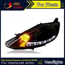 Free shipping ! Car styling LED HID Rio LED headlights Head Lamp case for Ford Fiesta 2009-2012 Bi-Xenon Lens low beam