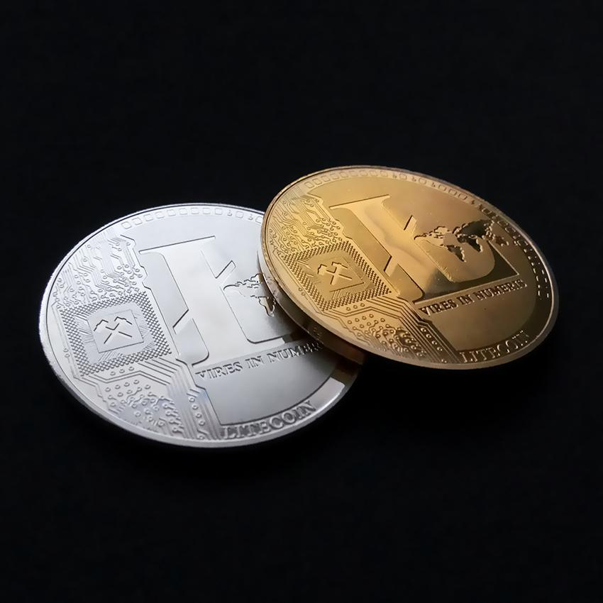 1X Silver//Gold Plated Commemorative Litecoin Collectible Iron Miner Coin Gifts