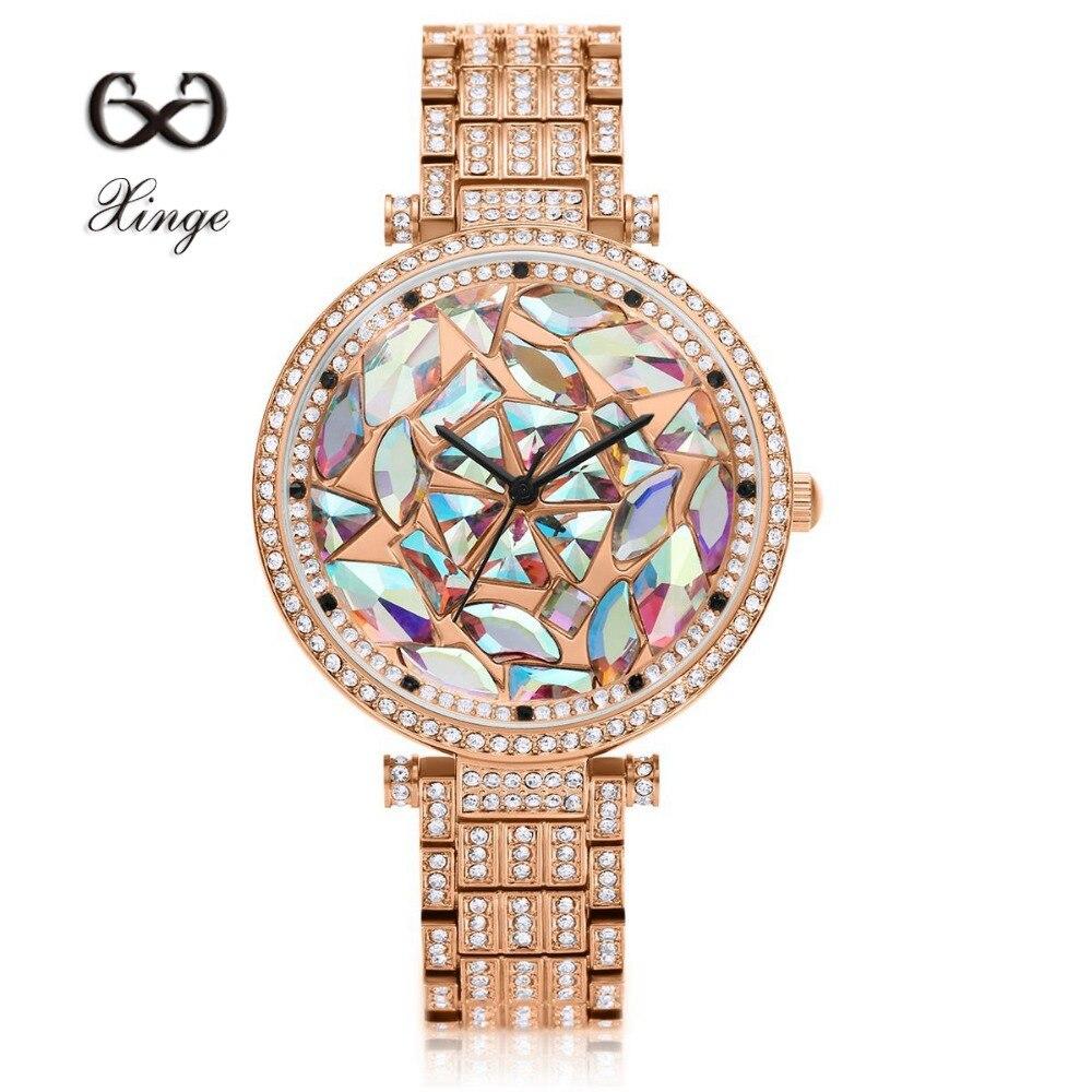 Xinge Brand Luxury Zircon Copper Bracelet Diamond 30M Waterproof Wristwatch Women Dress Rhinestone Quartz Ladies Casual Watches<br>