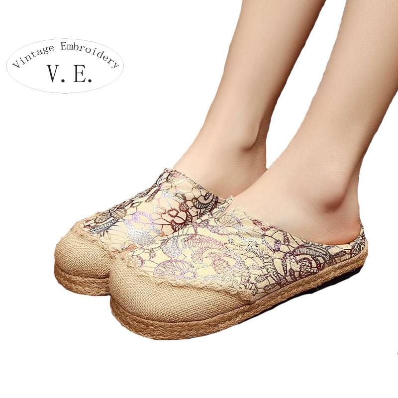 Vintage Embroidery Women Cotton Linen Slippers Casual Retro Ladies Flat Slides Sandal Shoes Woman Canvas Sandials<br><br>Aliexpress