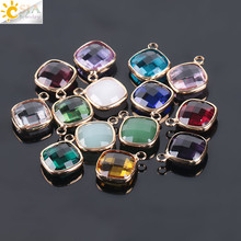 Buy CSJA 10pc Shining Gold Color Glass Crystal Charms Pendant Faceted Murano Loose Beads Lady Handmade Craft Jewelry Making E967 for $2.63 in AliExpress store