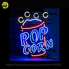 Popcorn Neon Sign Beer Bar Pub Decorate Glass Tube Neon Bulb Recreation Room neon light sign Metal Frame Sign Shop Display 24x12(China)