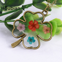 popular pendant necklace Clover pendant long necklace glass dried flower fashion Clover necklace classic necklace Free Shipping