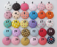 CL0001 (30 Patterns for select) 100pcs Mixed 15MM Round Dots Printed flatback fabric covered buttons sewing supplies(China)