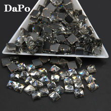 500pcs Good Quality 6X6MM Black Diamond/Gray DMC Square Flatback Hot Fix Rhinestone Glass Strass Hotfix Rhinestones