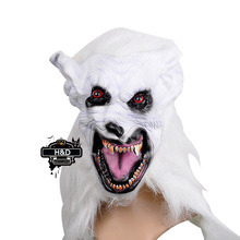 Full Face Cosplay White Wolf  Mask Gray Long Hair Horror Masquerade Adult Ghost Mask Halloween Props Party Costumes Fancy Dress