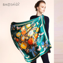 [BAOSHIDI]2016 Autumn New Arrival,12m/m Women Pure Silk scarf Luxury Brand, 90*90 Square lady Scarves, infinity shawl,head hijab(China)
