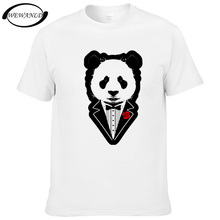 Summer Mens Wear Tuxedo's Panda T-shirt Casual Short Sleeve Cotton Funny T shirt Hipster Tops Youth Animal Tees Homme(China)