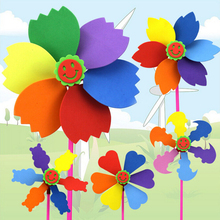 1 Pc 38*20cm Fun Creative Color Wind Spinners Windmill Decoration Baby DIY EVA Sponge Educational Kids Toys for Children Gifts(China)