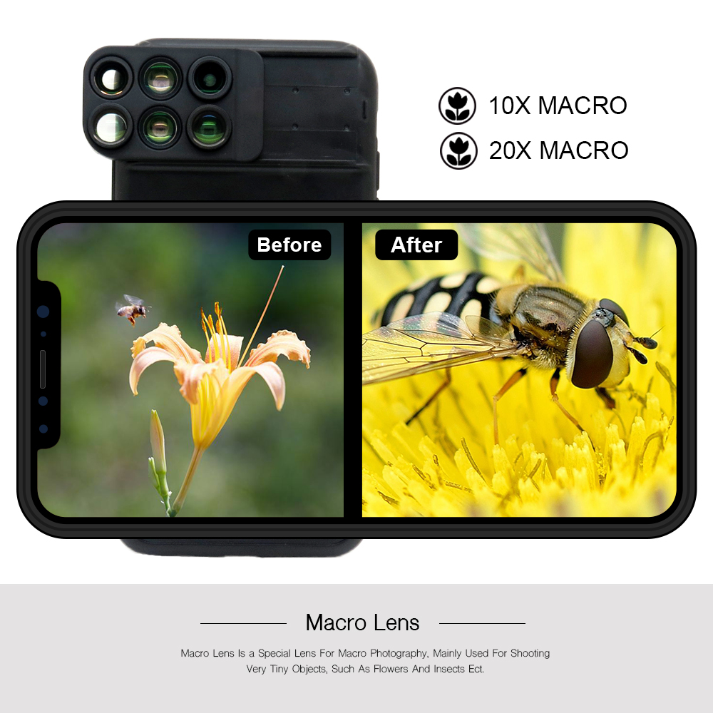 New For iPhone XS Max Dual Camera Lens 6 in 1 Fisheye Wide Angle Macro Lens For iPhone XS XR Xs Max Telescope Zoom Lenses 11
