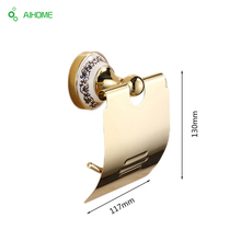Luxury crystal brass gold paper box roll holder toilet gold paper holder tissue box Bathroom Accessories bath hardware Hot sale