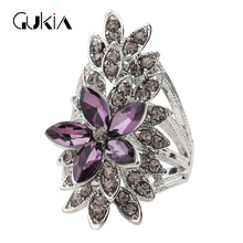Gukin Fashion Crystal Flower Rings For Women AAA Purple Glass Silver Plated Wedding Finger Ring Fine Jewelry Bague