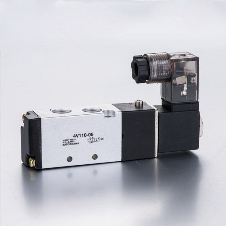 1/8 Pneumatic Airtac Solenoid Air Valve 5 Port 2 Position 2/5 Way 1/8 BSP 4V110-06 With Wire DC 12V 24V AC110V 220V<br><br>Aliexpress