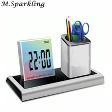 Creative Colorful LCD Display Electronic Digital Desk Table Calendar Thermometer Alarm Clock Pen Holder School Office Supplies(China)