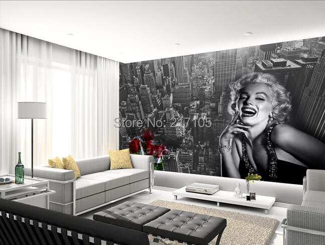Custom european-style wallpaper Marilyn Monroe for the sitting room the bedroom TV setting wall vinyl which papel DE parede<br>