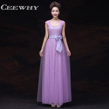 CEEWHY Sleeveless Bow Floor Length A-Line Evening Dress Long Prom Dresses Mother of the Bride Dresses Robe de Soiree Champagne(China)