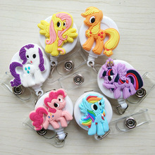 6pcs/lot Cartoon Animal Colourful Horse Silicone Retractable Reel for Bus Credit Card Holder for Bus Credit Card PY082 wholesale(China)