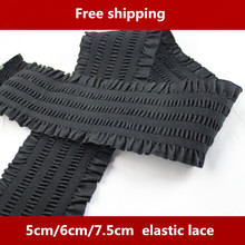 2 metes/lot  Short Skirt Ruffle Lace Trim Jacquard Waistband Elastic Stretch Band 5CM/6CM/7.5CM Wide