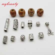 Free shipping 15Pcs/Lot mix wooden metal hair braid dread dreadlock beads clips cuff(China)