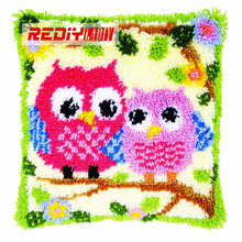 HOT 3D Latch Hook Cushion Kits Gift DIY Needlework Crocheting Throw Pillow Unfinished Yarn Embroidery Pillowcase Cartoon OWLS(China)