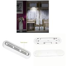 4 LED Closet Light Cordless Tap Touchsensor Stair Safe 180 Degrees Rotation LED Under Cabinet Lights --M25(China)