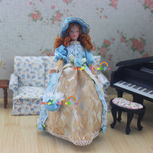 Doll Lady Girl Fairy Victoria Blue Hat Dress Skirt Blonde 1:12 Scale Dollhouse Miniatures Adorable