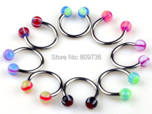Wholesale 10pcs Chic Horseshoe Circular Bar EarRings Labrets Lip Rings Eyebrow ring barbell 18G piercing body jewelry Cheap(China)