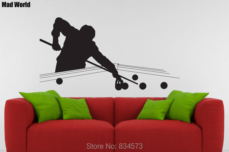 Mad World Snooker Pool Table Silhouette Wall Art Stickers Wall Decal Home  DIY Decoration Removable Room Decor Wall Stickers