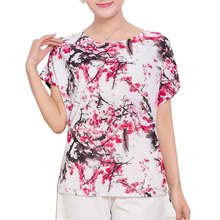 Summer Women Tops tees 2017 Vintage Short Sleeve O-Neck Cotton T-shirts Print Floral T shirt Casual Shirt Harajuku Plus size