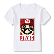 2017 Children Mario Swag Print Funny T-Shirts Kids Summer Tops Girls Boys Short Sleeve Clothes Casual Cool Baby T shirt,HKP2111(China)