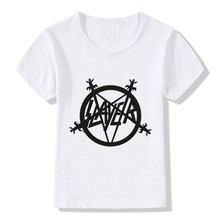 Children Speed Metal Slayer Print T-Shirts Kids Summer Tops Girls Boys Short Sleeve T shirt Casual Rock Baby Clothes,HKP516