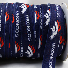 161741 , 16MM Sports team logo Fold Over Elastic Ribbon , 10 yards Hair ring DIY handmade clothing accessories