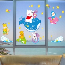 Bear Riding dolphin fish sea world wall sticker ocean fish shower tile stickers in the bathroom on bath bathing pool XY3010