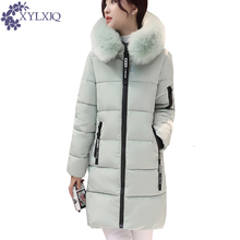 XYLXJQ 2017 Women Winter Coat Long Parkas Large Fur Collar Hooded fashion Cotton-padded Jacket Warm Jackets Plus Size HD038