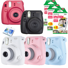 Fujifilm Instax Mini 8 Camera + 50PCS Sheet Fujifilm Fuji Instax Mini White film for Mini 8 25 Yellow Blue White Black Pink(Hong Kong)