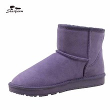 STARFARM 2017 Winter Shoes Snow Boots Women Australia Boots Fur Wool Ankle Boots Wool Slip On Shoes Warm TPR Ug Boots SF17918(China)