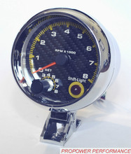 "NEW 3.75"" Tachometer RPM Gauge CABON FIBER FACE WITH INTERNAL SHIFT LIGHT/AUTO GAUGE(China)"