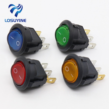 4Pcs Car 220V Round Rocker Dot Boat LED Light Toggle Switch SPST ON/OFF Top Sales Electric Controls(China)
