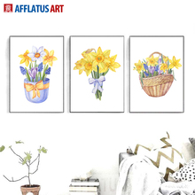 AFFLATUS Daffodil Wales Watercolor Canvas Painting Wall Picture Dreamlike Colorful Living Room Bedroom Home Decor Poster