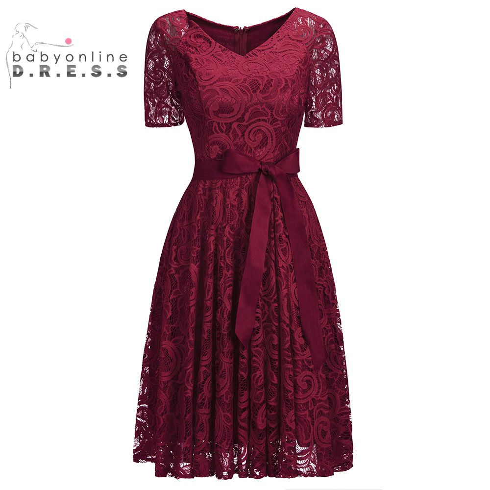 Half Sleeves Burgundy Short Lace Evening Dresses 2019 Plus Size Formal Women Dresses With Sash Evening Gown Vestido Festa(China)