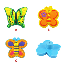 Butterfly series kids room cabinet Knobs pull handle soft Rubber colorful Children Room Drawer Handle Soft Furniture Handle(China)