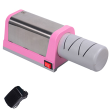 XYJ Brand Pink Color Kitchen Knife Sharpener 2 Slot Electric Diamond Steel Ceramic Knife Sharpener Practical Cooking Tools Sale(China)