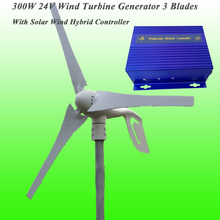 Hot Selling 3 Blades 300W 24V Wind Turbine Generator & Wind Solar Hybrid Controller With CE Approved 300W Small Wind Generator(China)