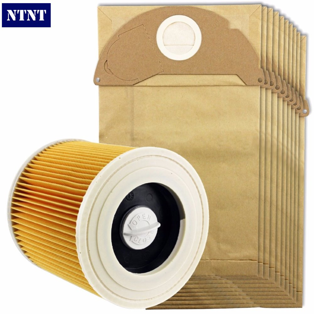 NTNT Free Post New 10 Pcs dust bag and 1 Pcs Filter Kit For Karcher Vacuum Cleaner A2054,A2064<br>