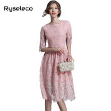 pink crochet cutout lace stitch Hollow out summer dress fashion Slim O-Neck Sexy vestidos elegant evening party Casual Dresses