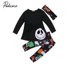 2017 Toddler Kids Girl Halloween Clothes Long Sleeve Black Mini Dress Tops+Long Pant Legging Headband Outfits 3PCS Clothing Set(China)