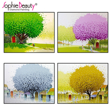2018 Top Fashion Rushed Paintings Europe Diy Diamond Painting Cross Stitch Mosaic Embroidery Bedroom Beautiful Oli Tree Point(China)