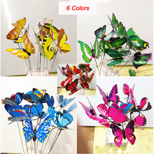 Colourful Garden Plastic Butterflies On Sticks Dancing Flying Fluttering Butterfly DIY Art Ornament Vase Lawn Garden Decoration(China)