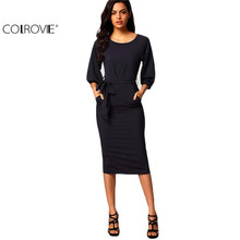 COLROVIE Autumn New Style  Puff Sleeve Belt Chiffon Slim Dress Navy Round Neck Half Sleeve Pockets Sheath Dress