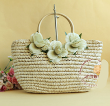 40X25CM  Dutch style Element model clamp clasps twine three flowers straw bag  cane makes up natural handle A2317